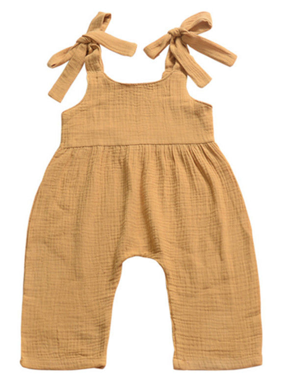 Baby Girl Solid Color Sleeveless Suspender Pants Trousers Infant Overalls Jumpsuit-Ginger