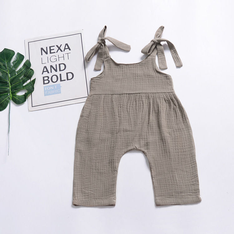 Baby Girl Trousers Solid Color Sleeveless Suspender Pants Infant Overalls Jumpsuit