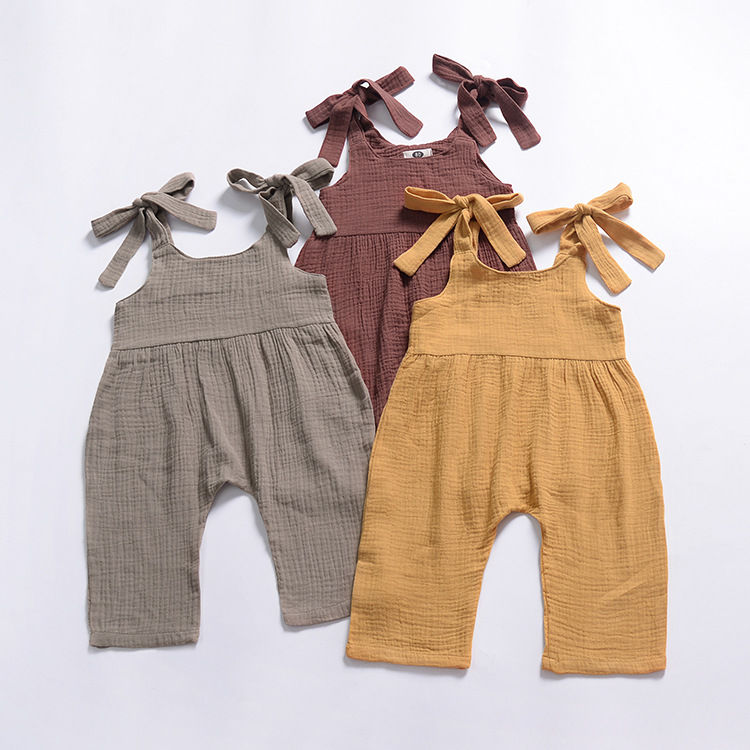 Solid Color Sleeveless Suspender Pants Trousers Infant Overalls Jumpsuit