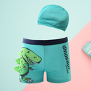 Toddler Big Kids 2-Piece Dinosaur Swimming Trunks with Swim Hat