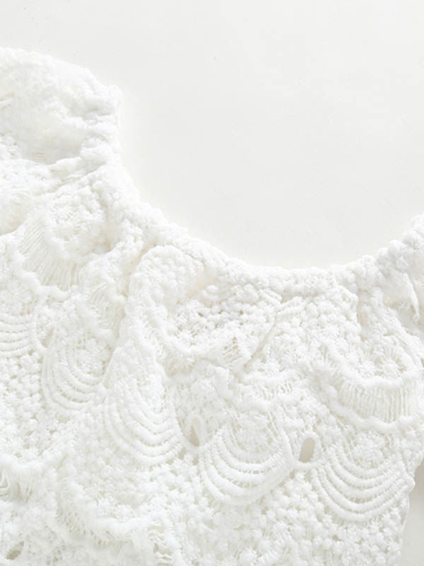 White Flower Pierced Lace Top