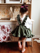 Stylish Frilled Corduroy Pinafore Dress For Baby Little Girl