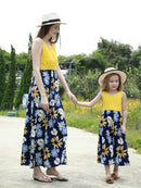 Mom and Me Summer Collection Patchwork Flower Sleeveless Casual Long Dress