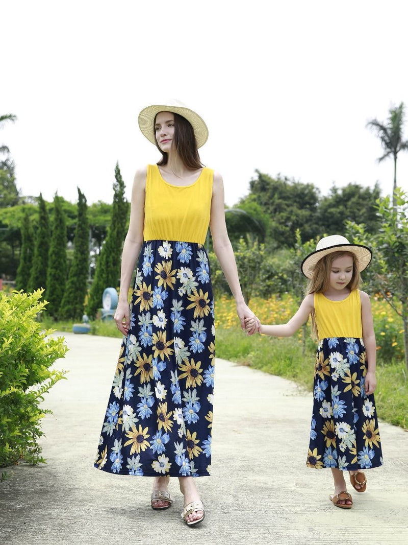 Mom and Me Patchwork Flower Dress