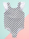 Striped Frilled One-piece Swimming Suit for Baby Little Girl