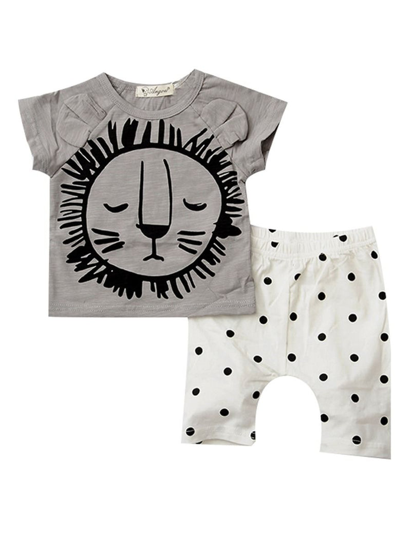 2-Piece Baby Boys Girls Summer Clothes Outfits Sets Lion Print T-shirt + Pants