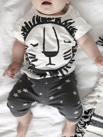 2-Piece Baby Boys Girls Summer Clothes Outfits Sets Lion Print T-shirt and Pants