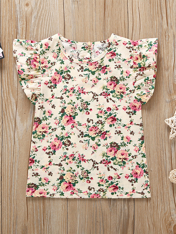 Short Flutter Sleeve Floral T-shirt