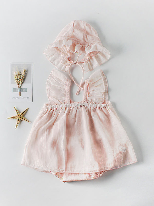 2-Piece Outfits Spanish Style Baby Girl Romper +Ruffle Hat