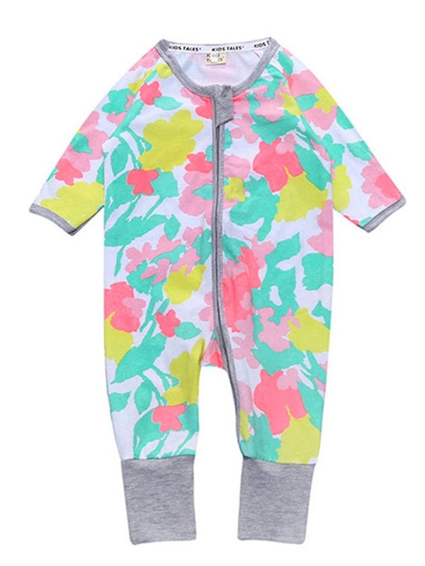 Infant Boys Girl Cartoon Printed Zip Romper Overalls