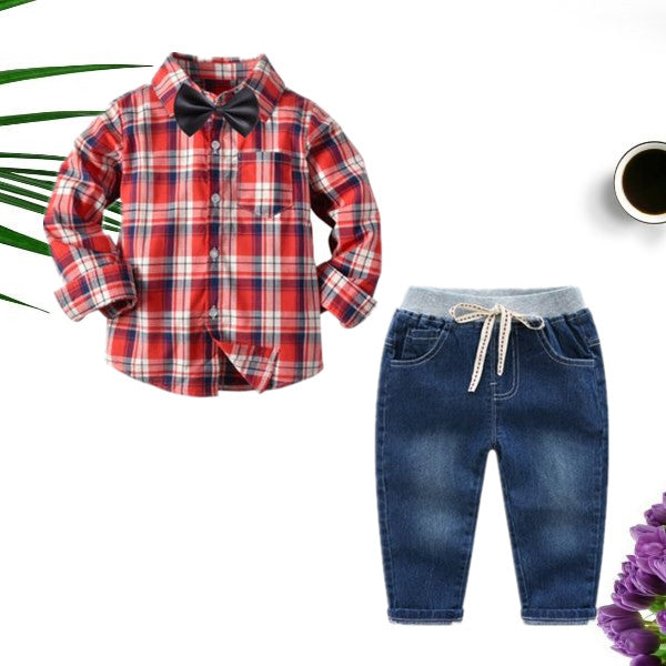 Spring 3-Piece Toddler Boy Gingham Shirt with Tie and Jeans