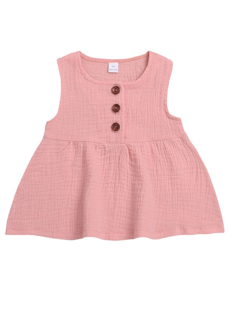 Summer Solid Color Baby Girl Sleeveless Casual Dress