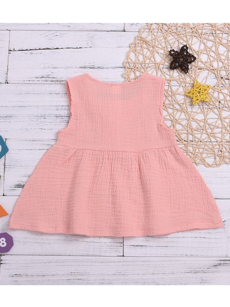 Solid Color Baby Girl Sleeveless Casual Dress BACK