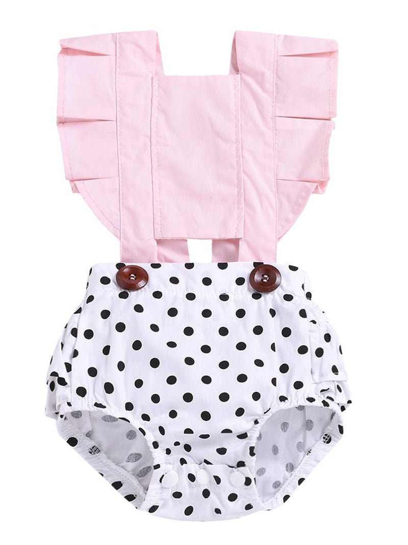 Infant Girl Frilled Polka Dots Bodysuit Onesie Summer