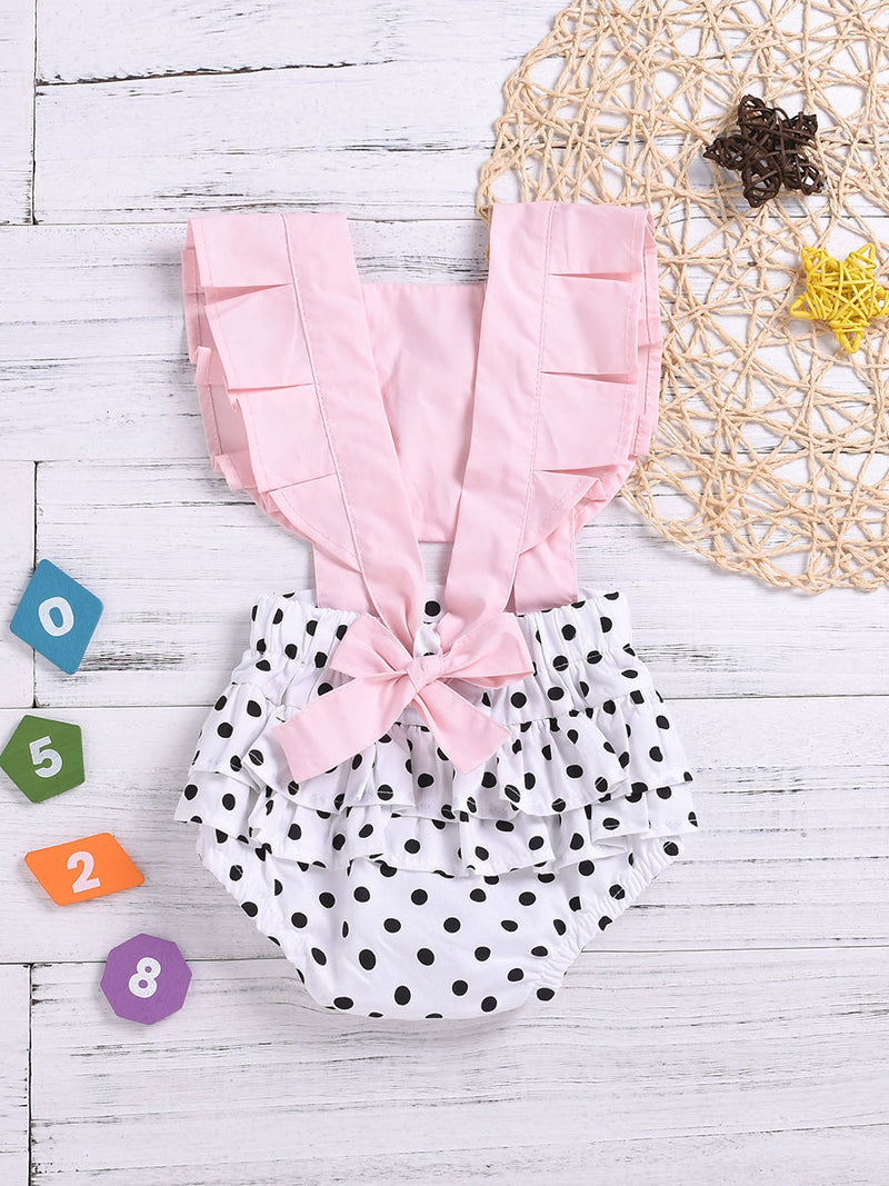 Infant Girl Frilled Polka Dots Bodysuit Onesie