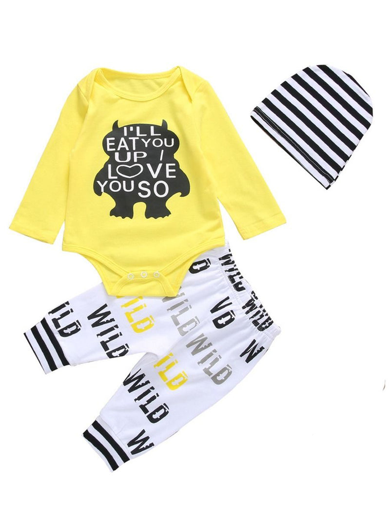 3-Piece Baby Clothes Cartoon Outfits