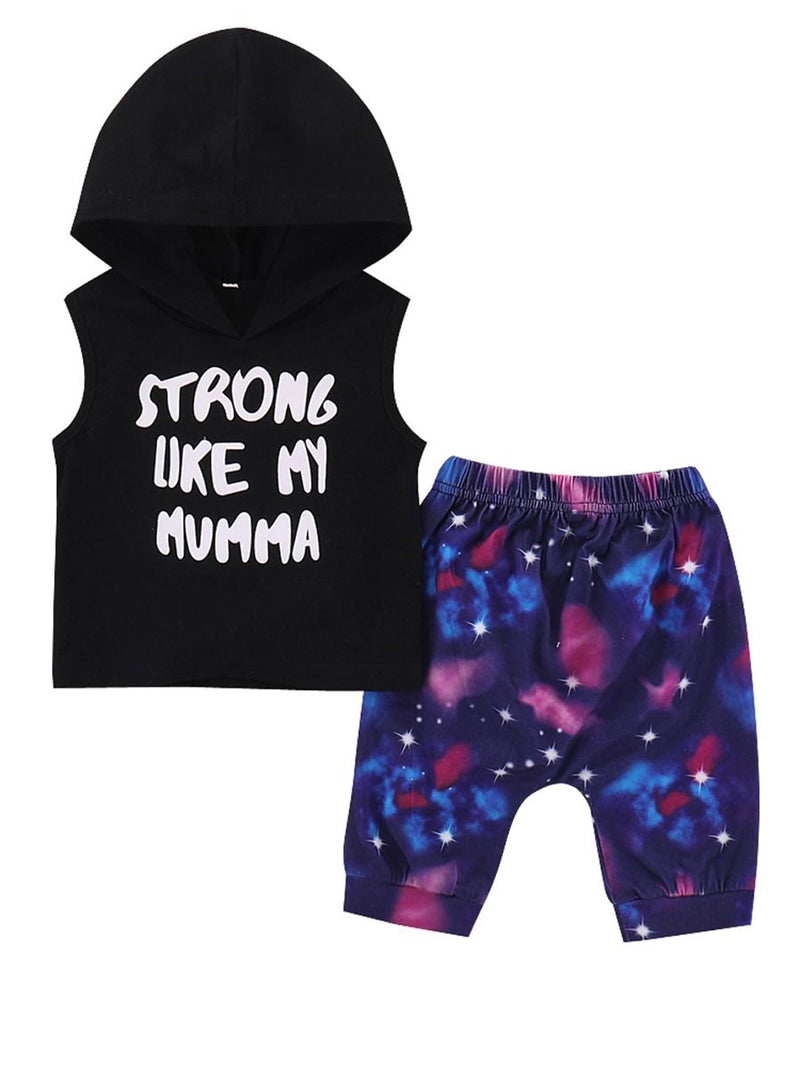 2-Piece Baby Little Kids Outfits STRONG LIKE MY MUMMA Letters Print Sleeveless Hoodie+Printed Pants