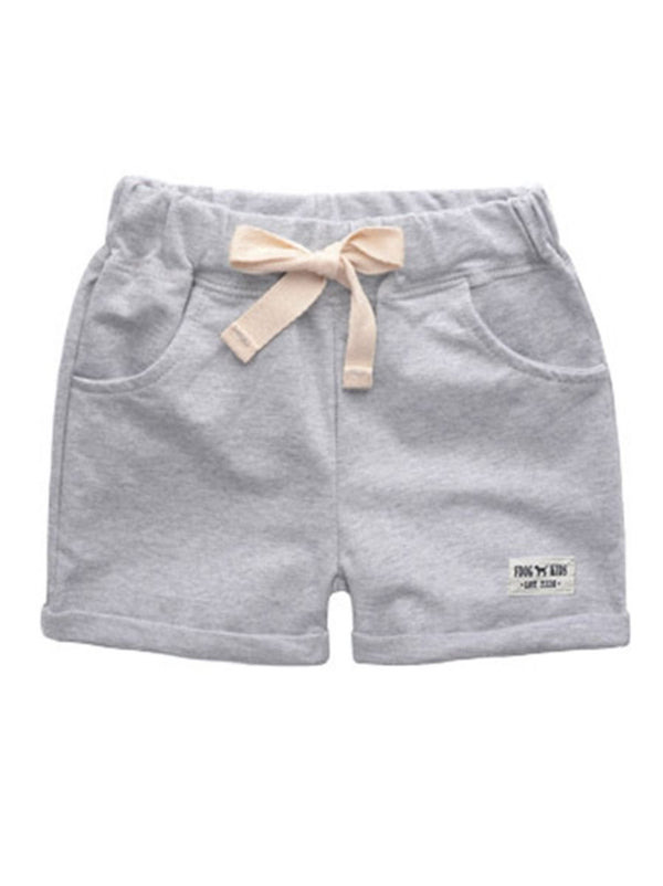 Summer Solid Color Shorts-Gray