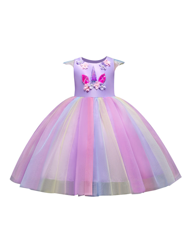 Rainbow Color Unicorn Flower Mesh Princess Party Dress for Summer Little Big Girl