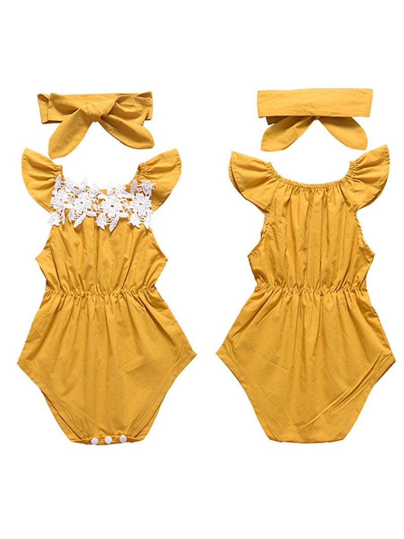 Baby Girls Bodysuit+Headband Outfits Set