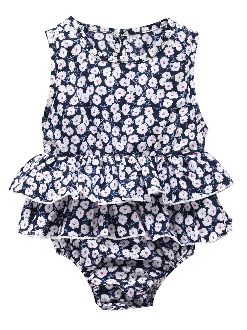 Sleeveless Frilled Floral Baby Bodysuit Commercial Summer Romper