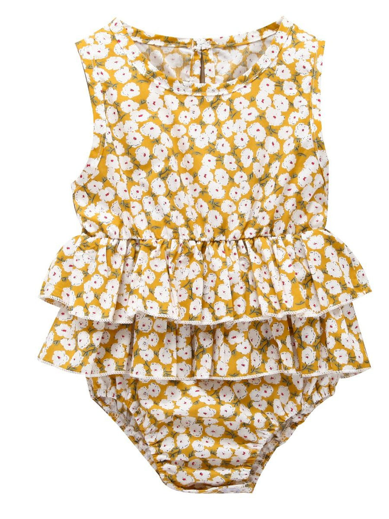 Sleeveless Frilled Floral Baby Collection Bodysuit