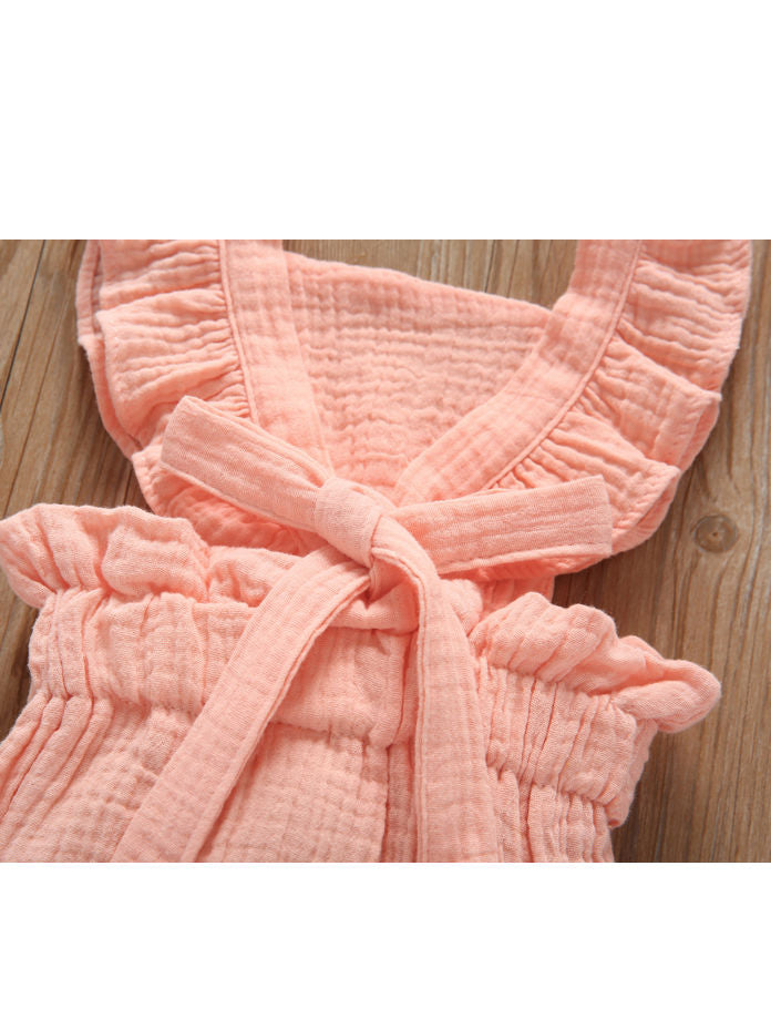 2019 Solid Color Onesie Big Bow Flutter Sleeve Fluffy Muslin Romper