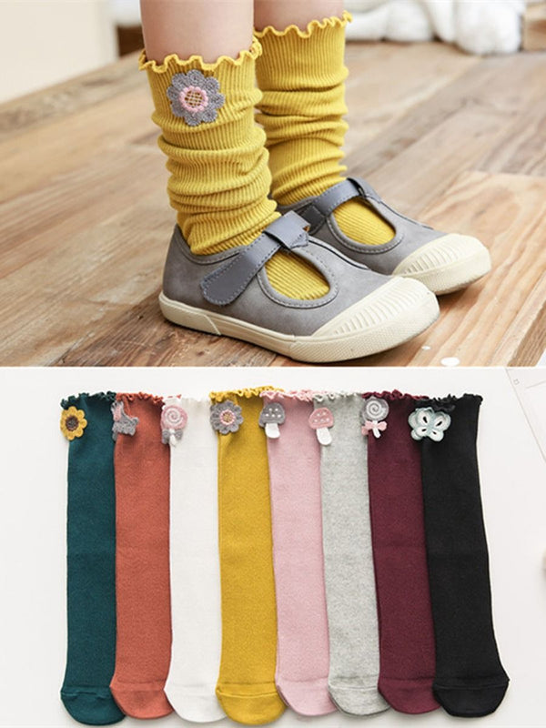4-PACK Solid Color Ruffle Knee High Tube Socks Loose Mouth Socks