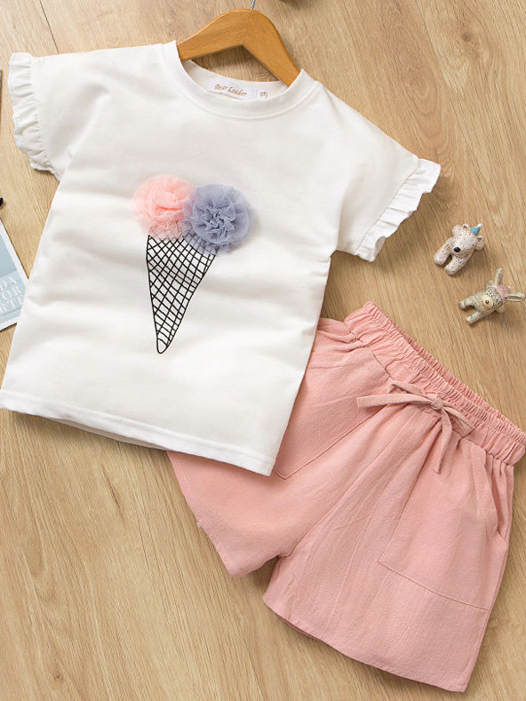Ice Cream Style T-shirt+Pink Shorts