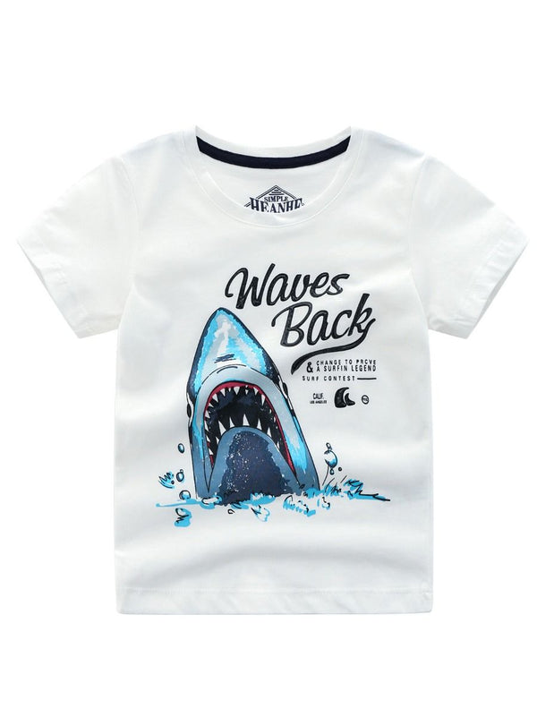 Summer Little Boy Shark T-shirt-white