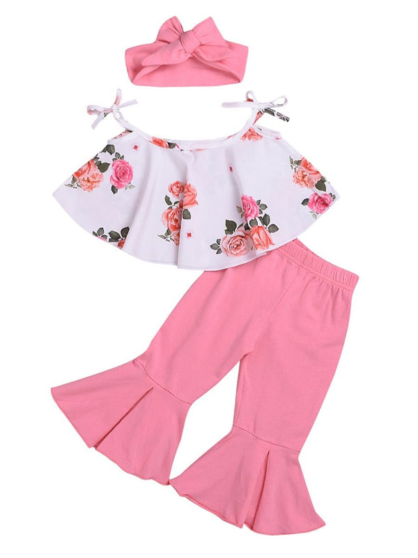 3-Piece Summer Baby Flower Little Girl Tie Crop Top+Pink Bell-bottomed Pants+Headband Sets