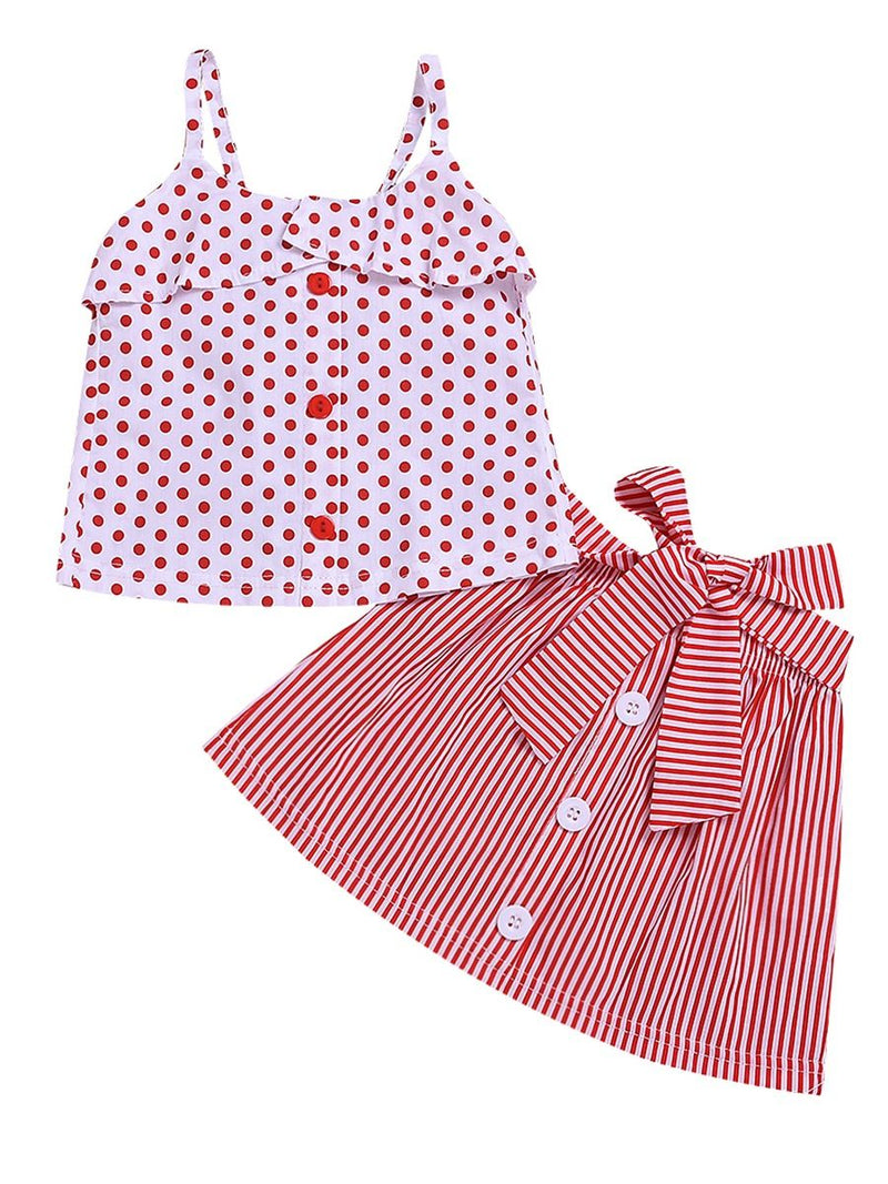 2-Piece Fashion Baby Little Girl Red Polka Dots Suspender Top+Bow Stripe Skirt Outfit Sets