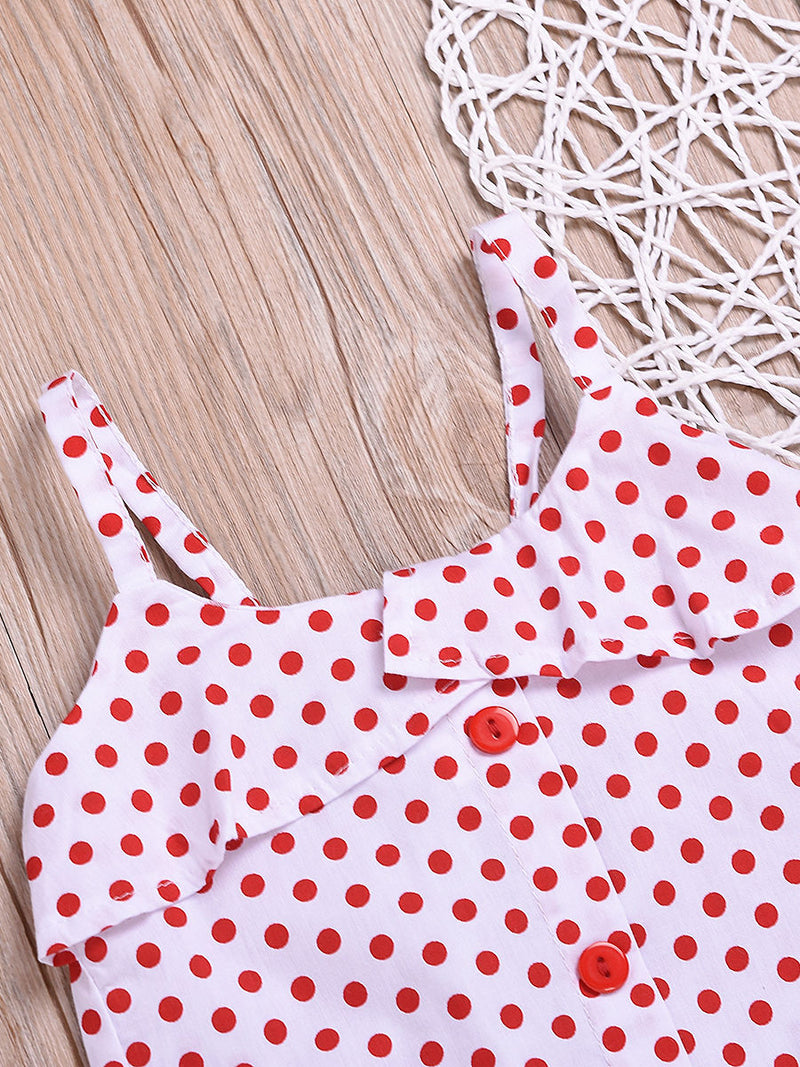 Fashion Toddler Girl Clothes Red Polka Dots Suspender Top+Bow Stripe Skirt Outfit Sets 2-Piece