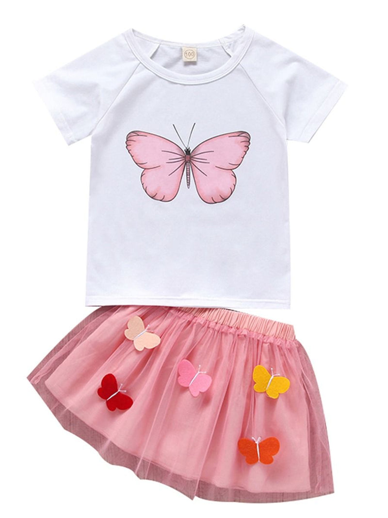 2-Piece Butterfly Style Baby Little Girl Clothes Outfit T-shirt Matching Mesh 3D Butterfly Skirt