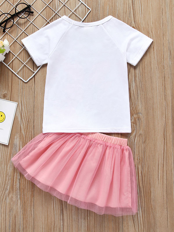 Butterfly Style Baby Little Girl Clothes 2-Piece Outfit T-shirt Matching Mesh 3D Butterfly Skirt