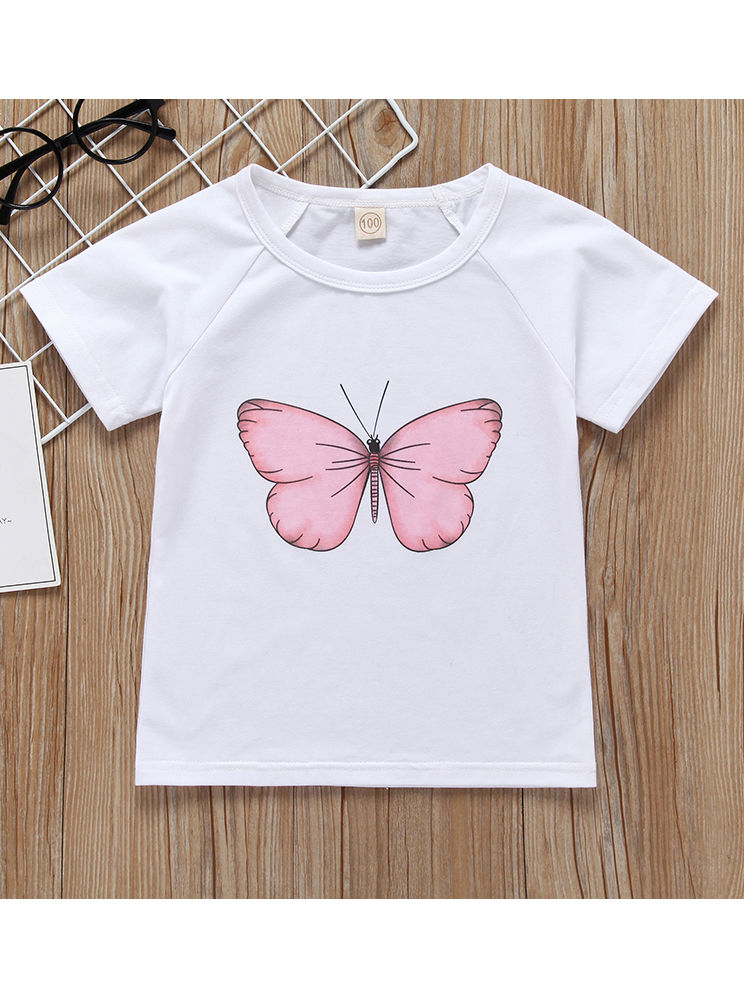 2-Piece Butterfly Style Baby Little Girl Clothes Outfit T-shirt Matching Skirt