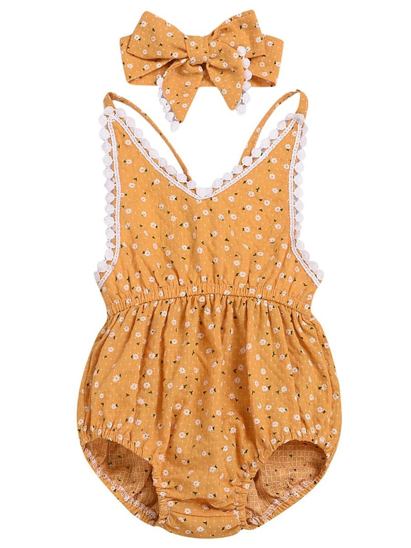 Flower Bodysuit Matching Bow Headband