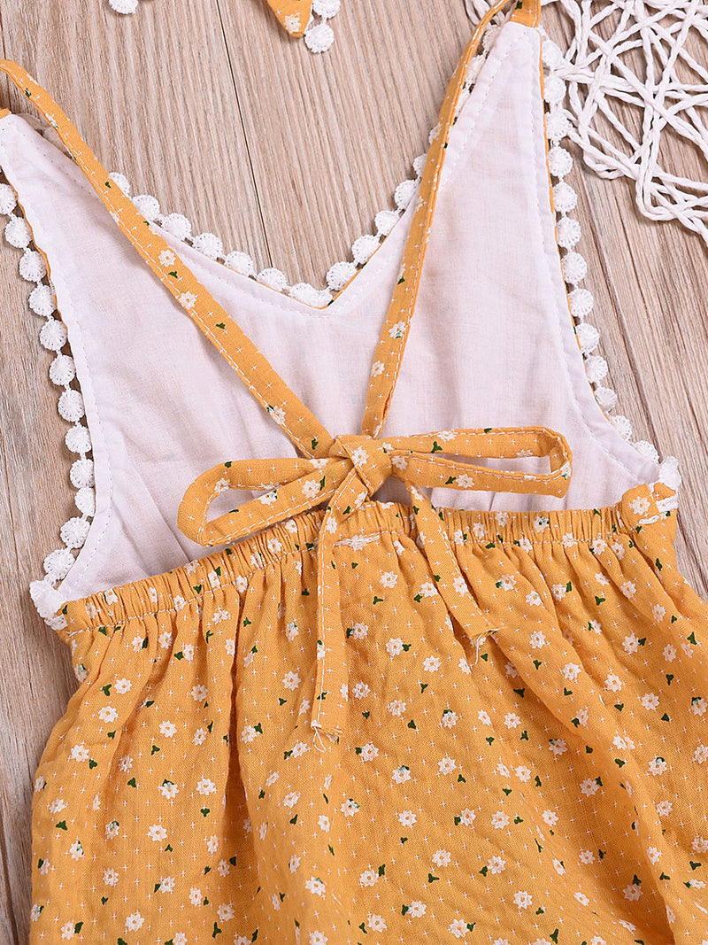 Summer Pom Pom Trimmed Flower Bodysuit Matching Bow Headband