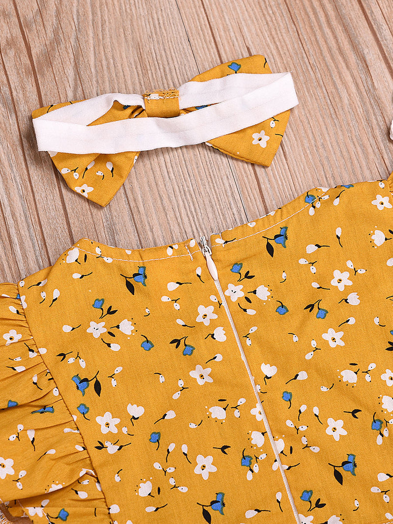 Short Flutter Sleeve Floral Commercial Baby Little Girl Jumpsuit Matching Headband