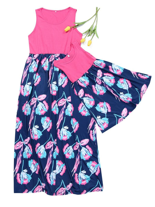 Mommy & Me Flower Patchwork Long Dress