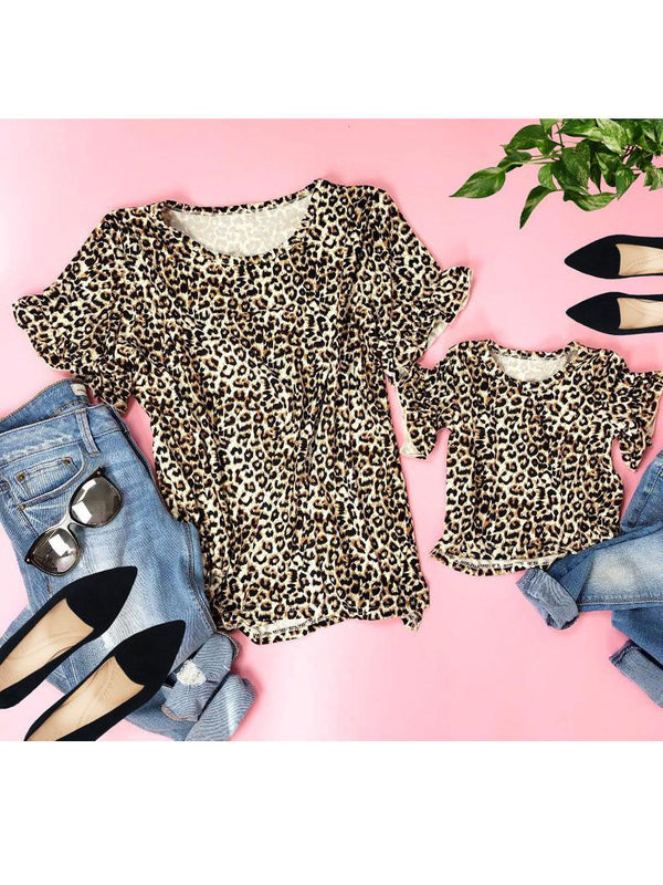 Mommy and Me Leopard Print Short Ruffle Sleeve T-shirt Blouse