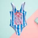 Family Outfit Swimwear Pig Stripe Pattern One Piece Bathing Suit
