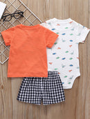 Summer Infant Clothes Outfit 3-PACK T-shirt+Bodysuit+Shorts