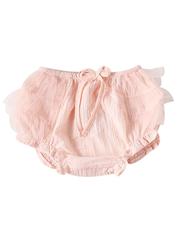 Pink  White Mesh Cotton Baby Girls Shorts