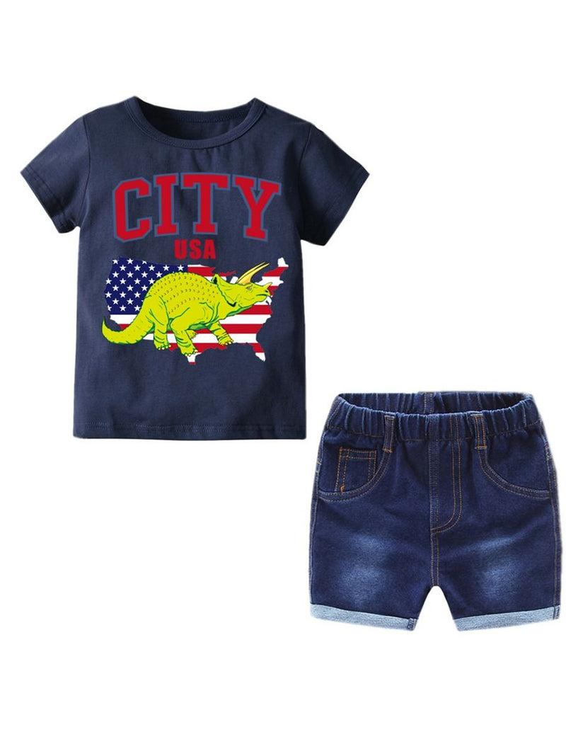 2-Piece Outfits Sets T-shirt Matching Short Jeans