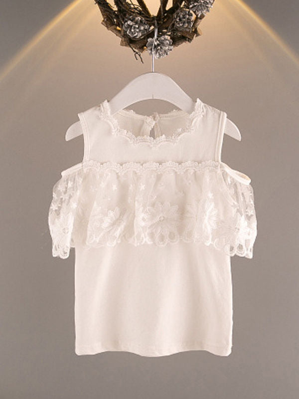 2-Piece Outfit White Flower Lace Off Shoudler Top + Beaded Necklace + Stripe Shorts