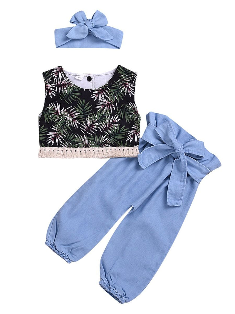 3-Piece Summer Fashion Baby Toddler Girl Clothes Outfit Leaf Tassel Trimmed Crop Top +Bow Blue Trousers+Headband