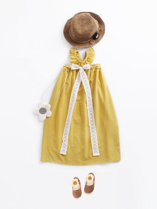 Lace Bow Cotton Yellow Dress
