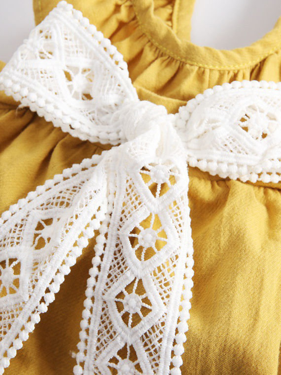 Lace Bow Cotton Dress