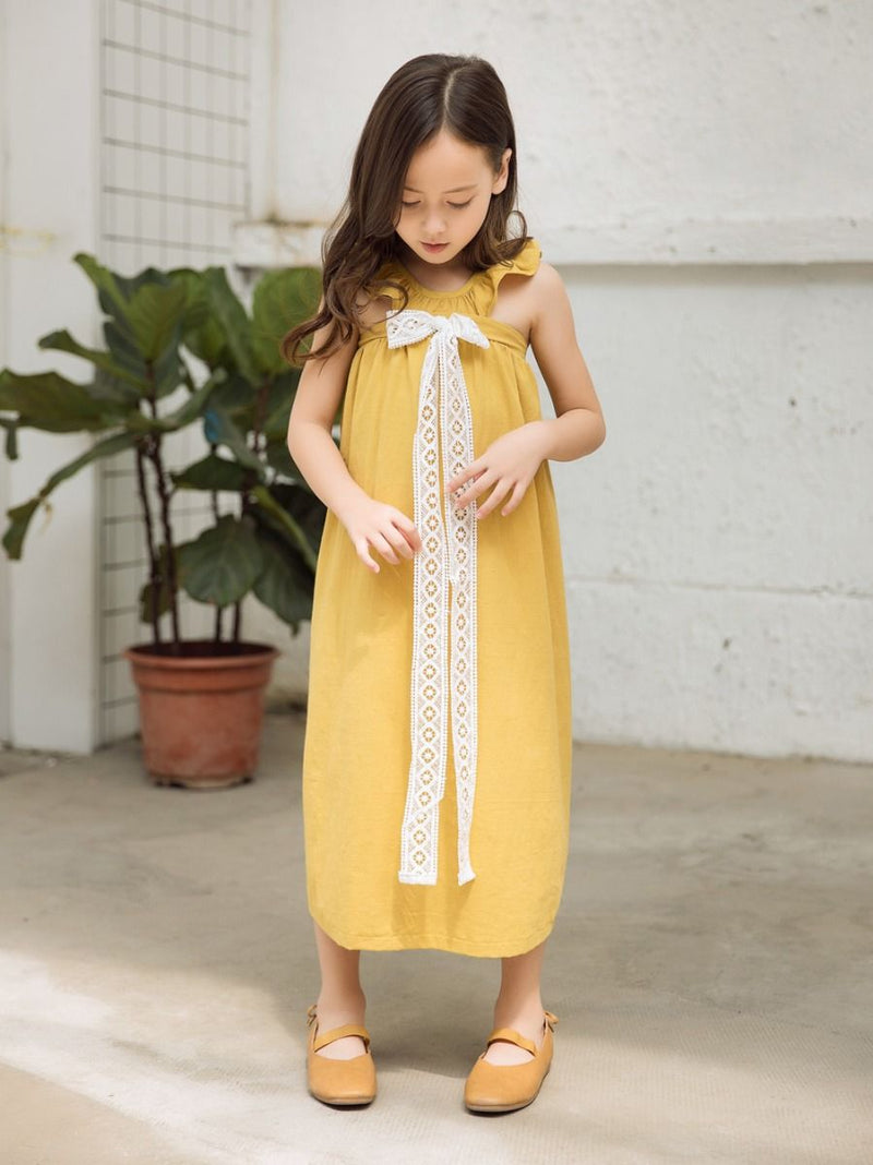 Girl Trimmed Off Shoulder Yellow Dress
